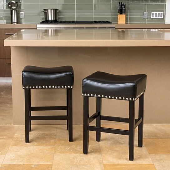 Wondrous Loring Black Bonded Leather Backless 26 Inch Counter Stool Set Of 2 Gmtry Best Dining Table And Chair Ideas Images Gmtryco