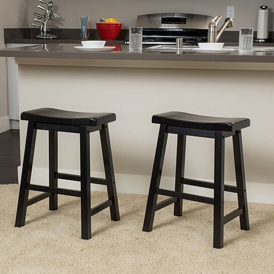 Buy Marcy Black Saddle Wood 24 Inch Counter Stool Set Of 2 By