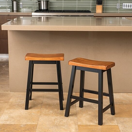 Buy Toluca Saddle Wood 24 Inch Counter Stool Set Of 2 By Gdfstudio