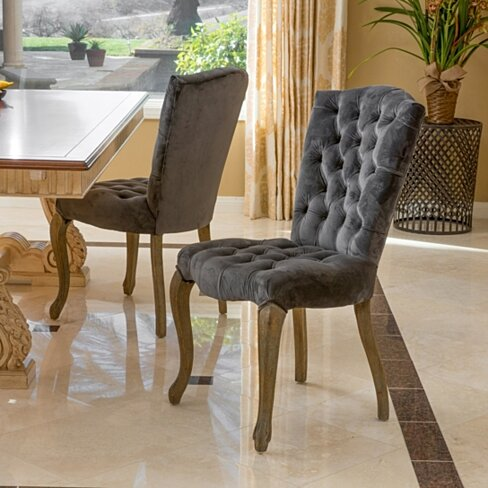 Martino Charcoal Velvet Dining Chair (Set of 2)