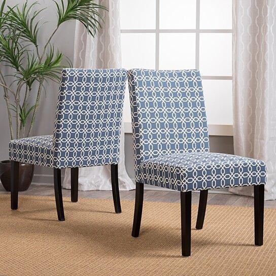 Amazing Rosana Blue White Fabric Upholstered Dining Chairs Set Of 2 Short Links Chair Design For Home Short Linksinfo