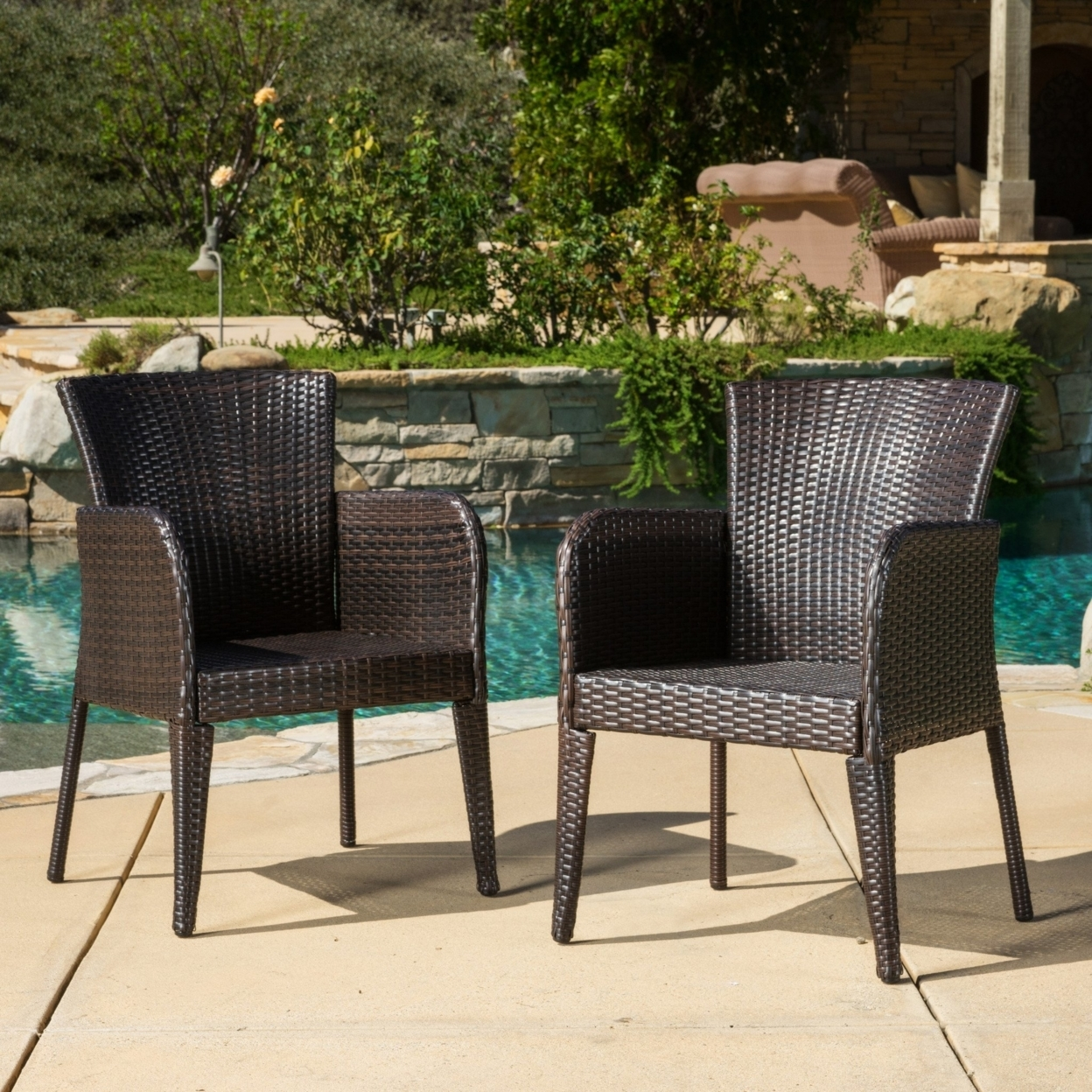 Seawall Outdoor Wicker Dining Chair (set Of 2)