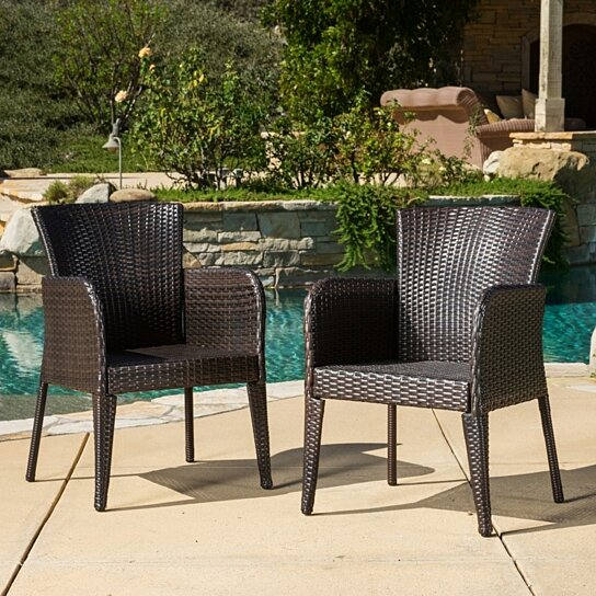 Buy seawall outdoor wicker dining chair set of 2 by for Great deals on outdoor furniture