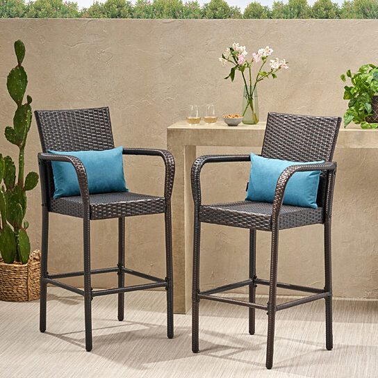 Buy stewart outdoor brown wicker barstool set of 2 by for Great deals on outdoor furniture
