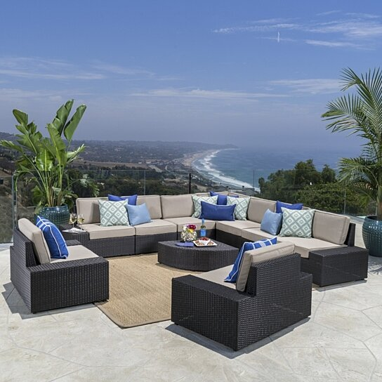 Buy Reddington Outdoor Wicker Sectional Set w/ Cushions by GDFStudio ...