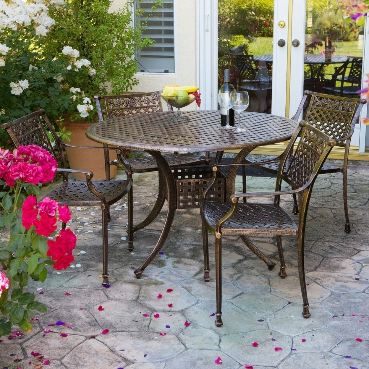 Sierra Cast Aluminum Outdoor Dining Set In Copper Finish
