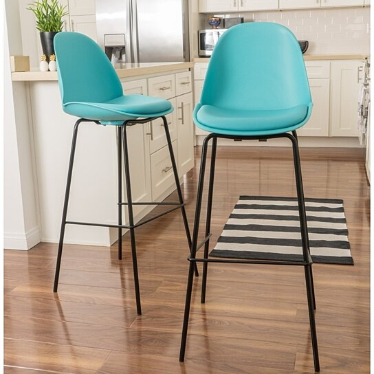 Buy Sizda Contemporary Light Blue Bar Stools Set Of 2 By