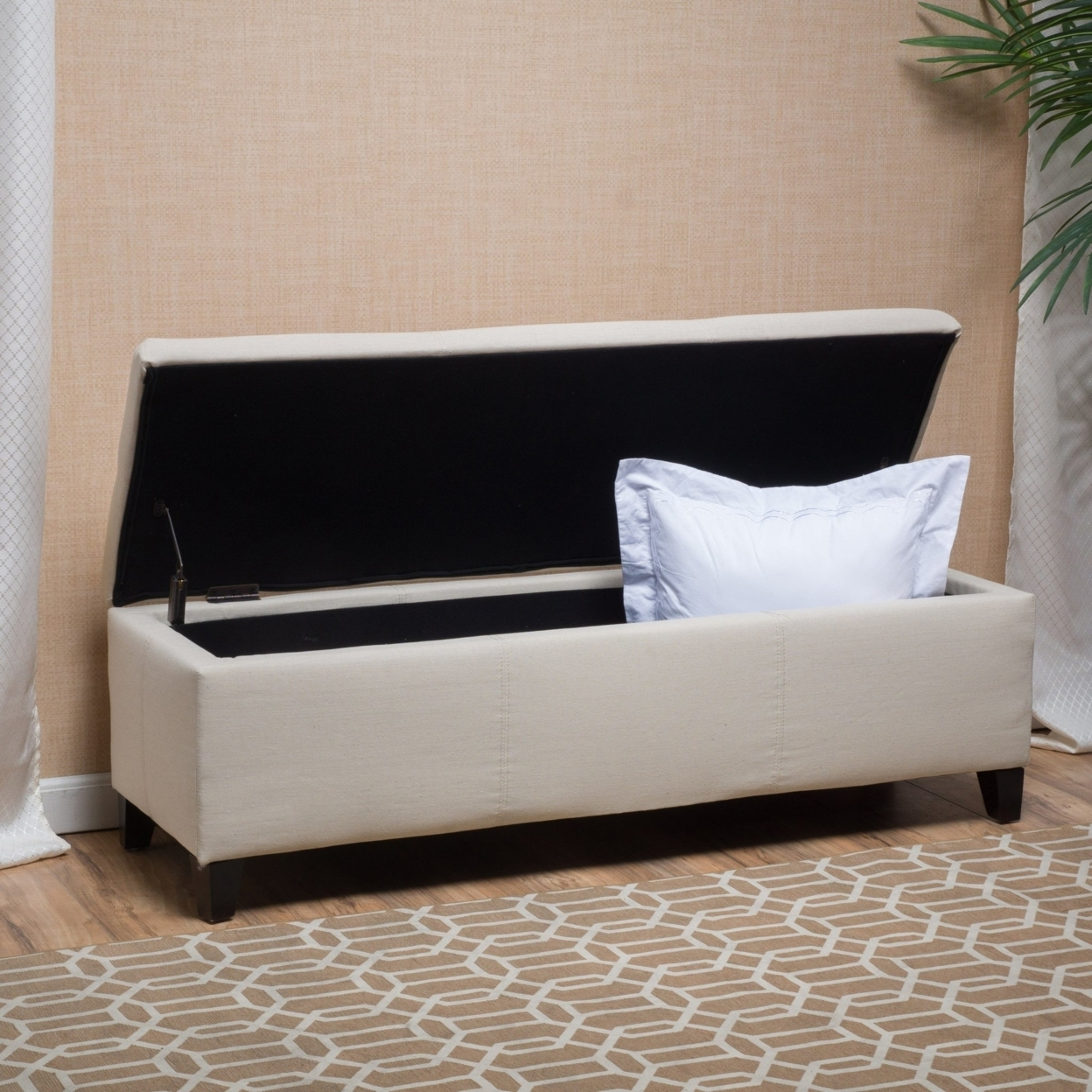 Skyler Beige Fabric Storage Ottoman Bench