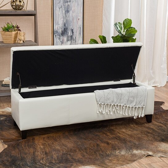 Amazing Skyler Off White Leather Storage Ottoman Bench Onthecornerstone Fun Painted Chair Ideas Images Onthecornerstoneorg
