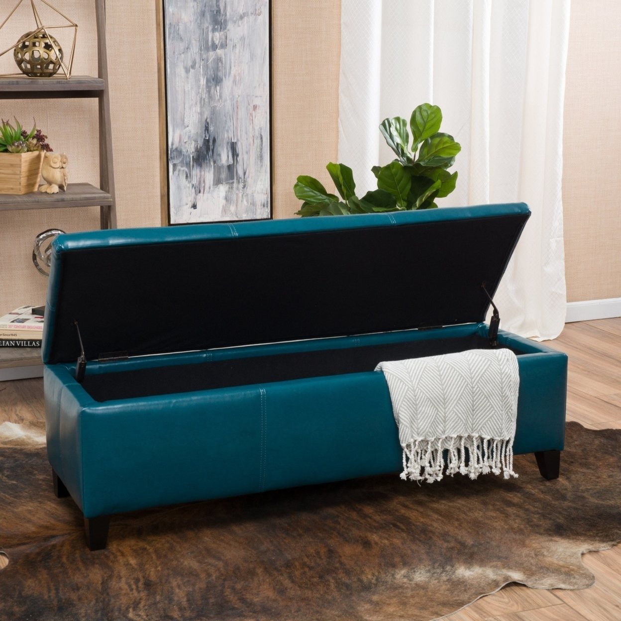 Skyler Teal Leather Storage Ottoman Bench