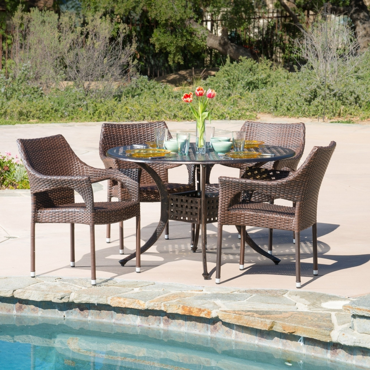 Sonora Outdoor 5pcs Cast Aluminum Wicker Dining Set
