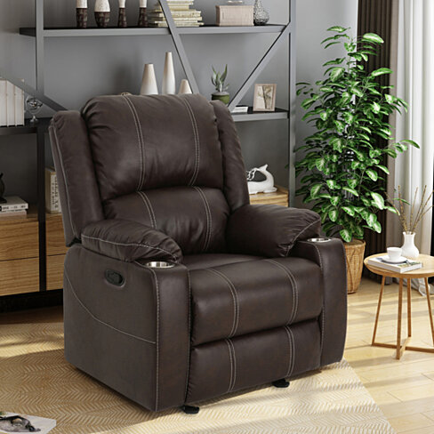 Sophia Traditional Leather Recliner with Steel Cup Holders