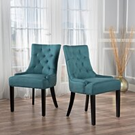 Great Deal Furniture 238459 Stacy Tufted Brown Leather Dining Chair Set of 2