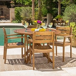 Stanford Outdoor Teak Finish Acacia Wood 5 Piece Dining Set