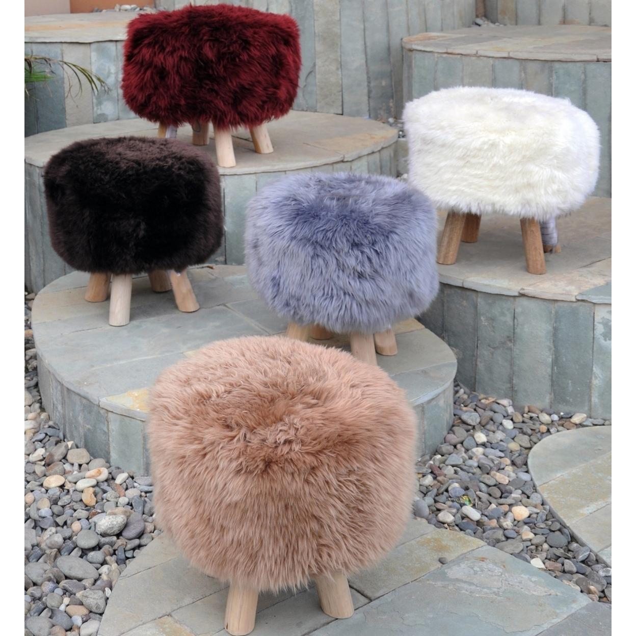 Taso Lamb Fur Cube Pouf-stool