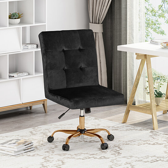 Buy Theodore Glam Tufted Home Office Chair With Swivel Base By Gdfstudio On Dot Bo