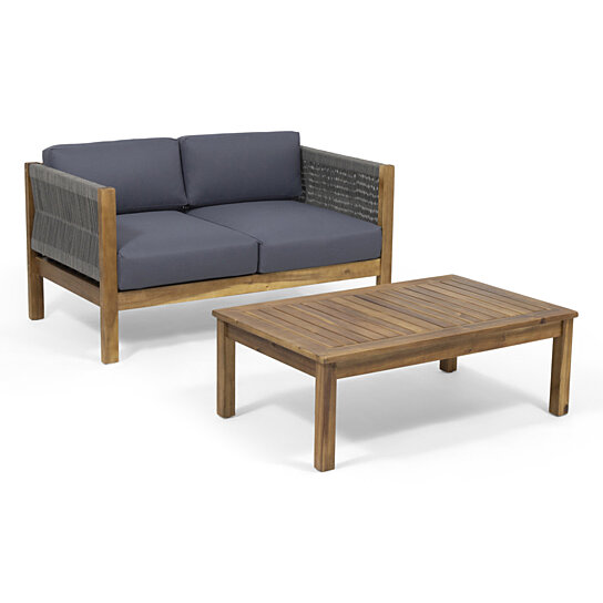 Groovy Theresa Outdoor Loveseat Set Evergreenethics Interior Chair Design Evergreenethicsorg