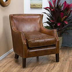 Tiller Top Grain Vintage Design Brown Leather Club Chair