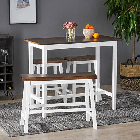 Toluca Farmhouse 4 Seater Rubber Wood Counter Dining Set