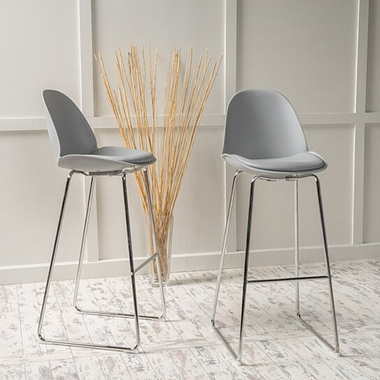 Buy Torney 32 Inch Contemporary Grey Bar Chair Set Of 2 By