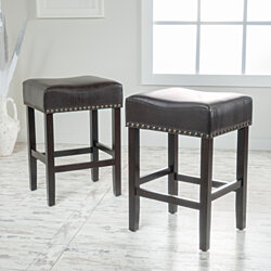 Torsten Brown Leather Backless Counter Stool with Espresso Legs (Set of 2)