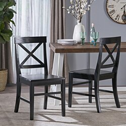 Truda Farmhouse Acacia Wood Outdoor Dining Chairs (Set of 2)