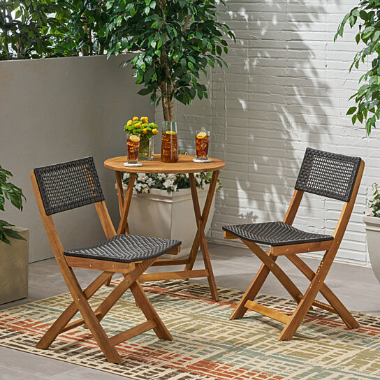 Swell Ida Outdoor Acacia Wood Foldable Bistro Chairs With Wicker Seating Set Of 2 Lamtechconsult Wood Chair Design Ideas Lamtechconsultcom