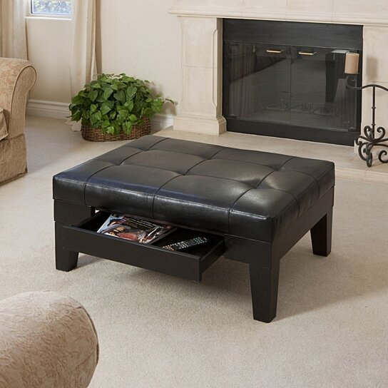 Buy Tucson Black Leather Storage Ottoman Coffee Table By Gdfstudio On Dot Bo