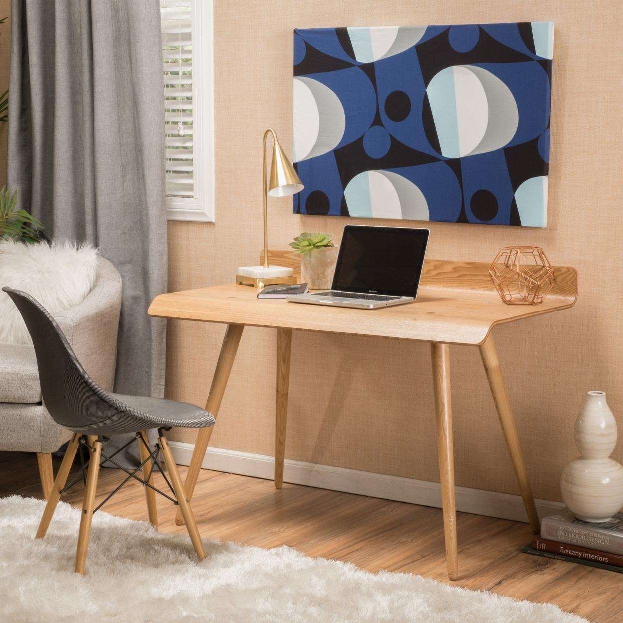 Turlra Contemporary Natural Tone Wood Computer Desk
