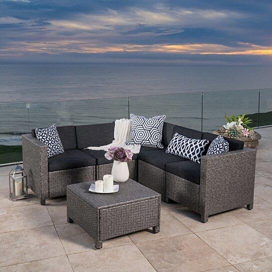 Valona Outdoor Wicker V Shaped Sectional Sofa Set