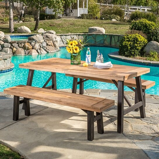 Buy valverde outdoor 3 piece wood picnic dining set by for Great deals on outdoor furniture