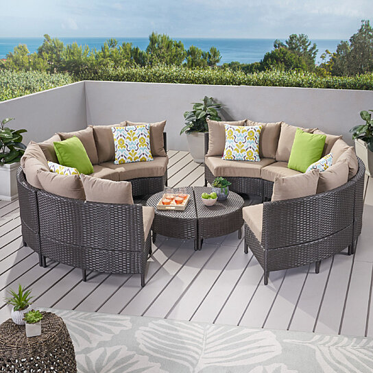 Buy falkland outdoor 10pcs wicker sofa sectional set by for Great deals on outdoor furniture