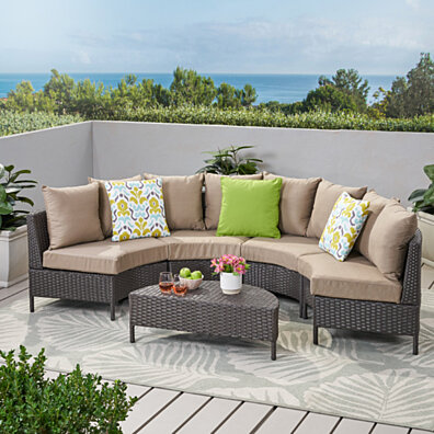 Falkland Outdoor 5pcs Wicker Sofa Sectional Set
