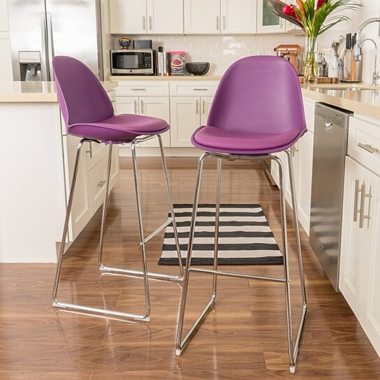 Buy Vorow 32 Inch Contemporary Purple Bar Stools Set Of 2 By