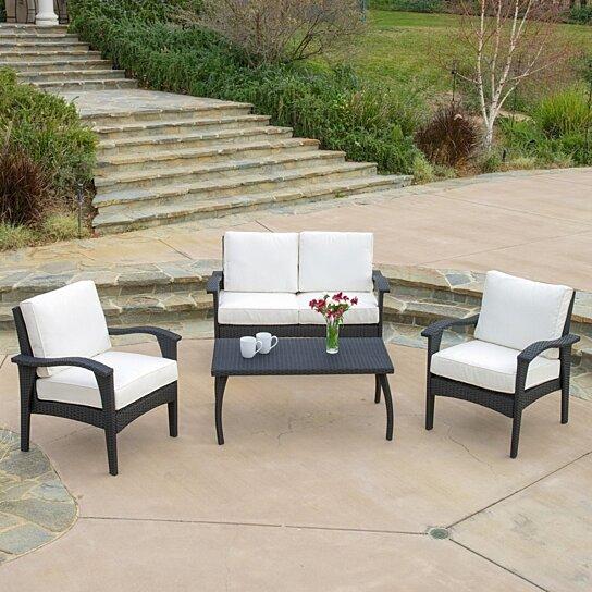 Stupendous Voyage Outdoor 4Pc Black Sofa Set Ibusinesslaw Wood Chair Design Ideas Ibusinesslaworg