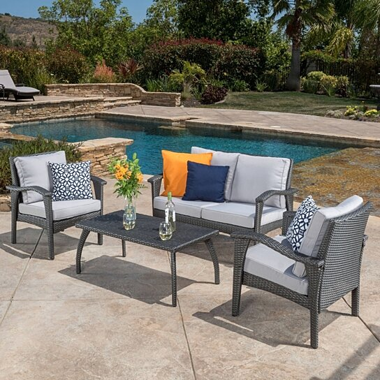 Buy voyage outdoor 4pc grey wicker sofa set by gdfstudio for Great deals on outdoor furniture
