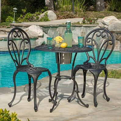 Wayne Outdoor Cast Aluminum Black Gold 3-piece Bistro Set with Ice Bucket