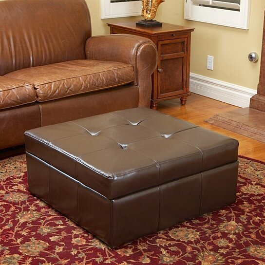 buy westridge brown leather storage ottoman by gdfstudio