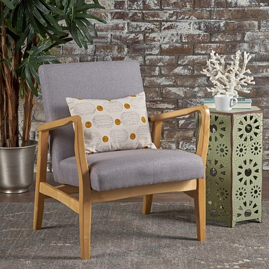 Winford French Style Inspired Fabric Wood Frame Club Chair By Gdfstudio On Dot Bo
