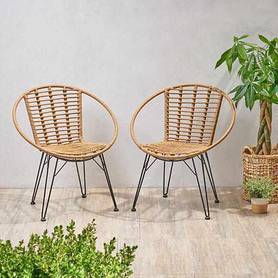 Buy Winnie Outdoor Wicker Dining Chairs Set Of 2 By Gdfstudio On Dot Bo