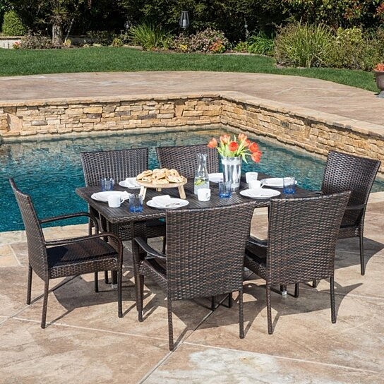 Buy yomunt contemporary outdoor 7pc dining set by for Great deals on outdoor furniture