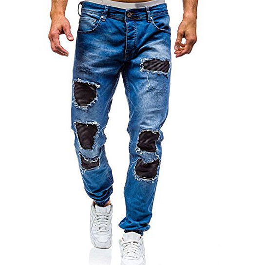 f4c1a4b0fadd Trending product! This item has been added to cart 0 times in the last 24  hours. Men Jeans Distressed Ripped Biker Moto Denim Pants Slim Fit Zipper