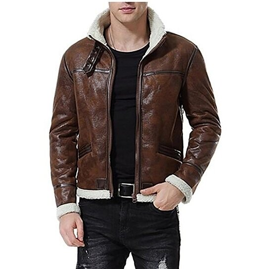 Buy Men S Faux Leather Jacket Brown Motorcycle Bomber Shearling