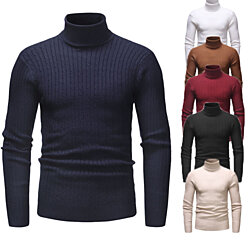 Mens Turtleneck Sweater Ribbed Slim Fit Knitted Pullover Turtleneck Sweater
