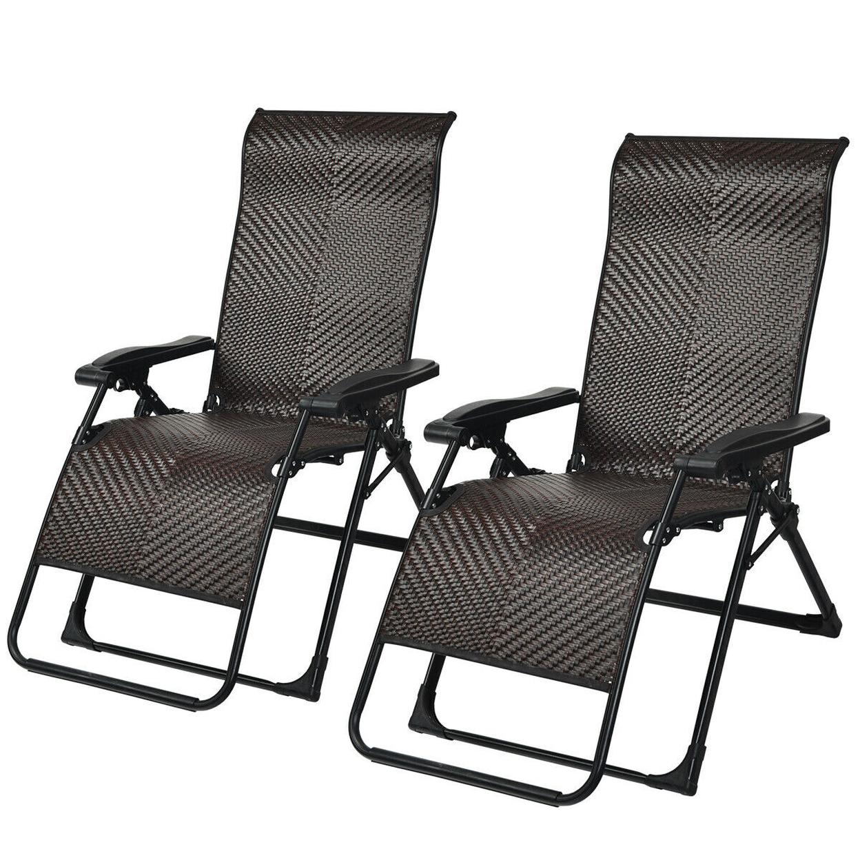 Gymax 10Pcs Patio Rattan Zero Gravity Lounge Chair Folding Recliner ...