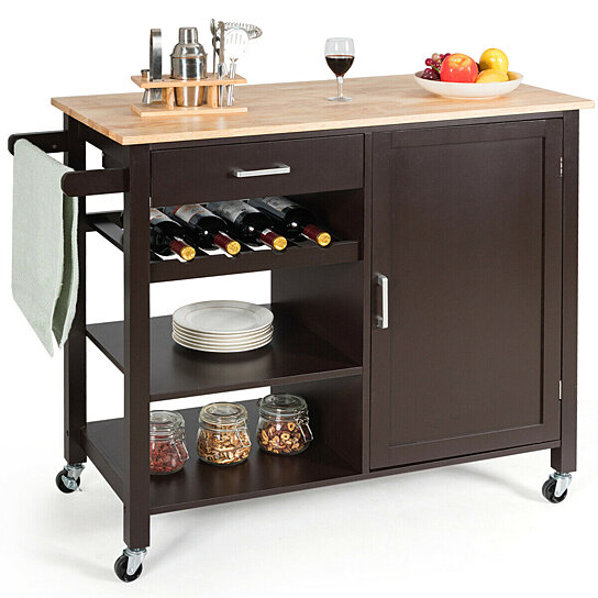 Buy Gymax 4 Tier Wood Kitchen Island Trolley Cart Storage Cabinet W Wine Rack Drawer By Gymax On Dot Bo
