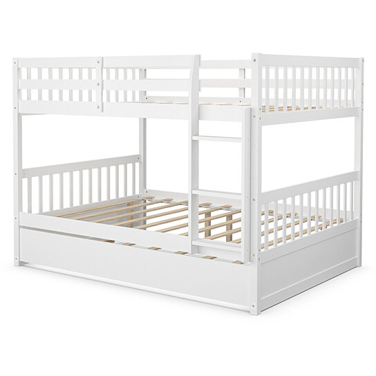 Buy Gymax Full Over Full Bunk Bed Platform Wood Bed Captain S Bed W Trundle Ladder Rail By Gymax On Dot Bo