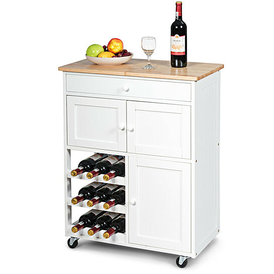 Buy Gymax Modern Rolling Kitchen Cart Trolley Island Storage Cabinet W Drawer Wine Rack By Gymax On Dot Bo