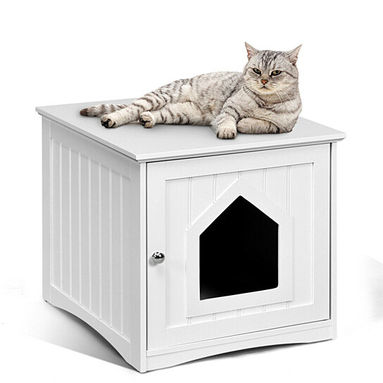 Buy Gymax Weatherproof Multi Function Pet Cat House Outdoor Indoor Sidetable Nightstand By Gymax On Dot Bo