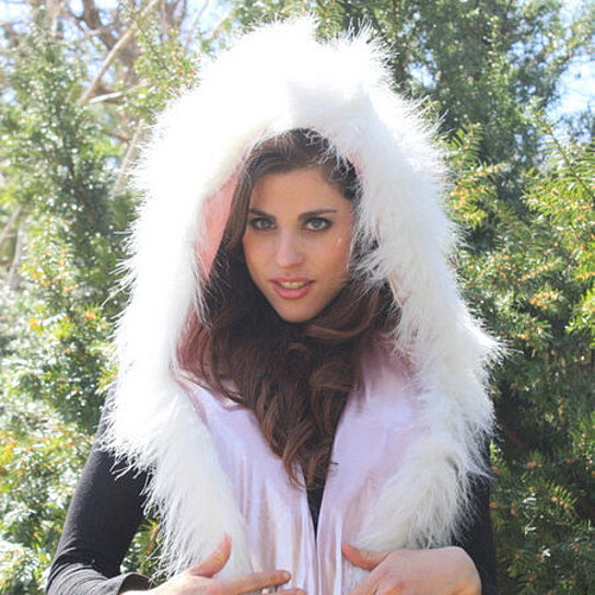buy white sparkly faux fur bunny hood with light pink shiny spandex perfect for burning man. Black Bedroom Furniture Sets. Home Design Ideas